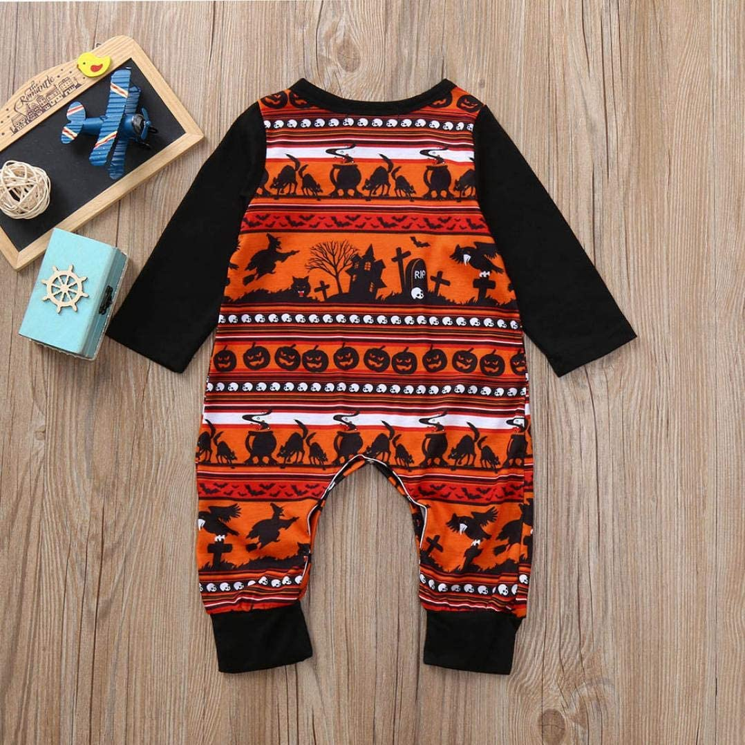 Todder Baby Girls Halloween Costumes Print Pumpkin Scene One Piece Playsuit Casual Romper Jumpsuit Set
