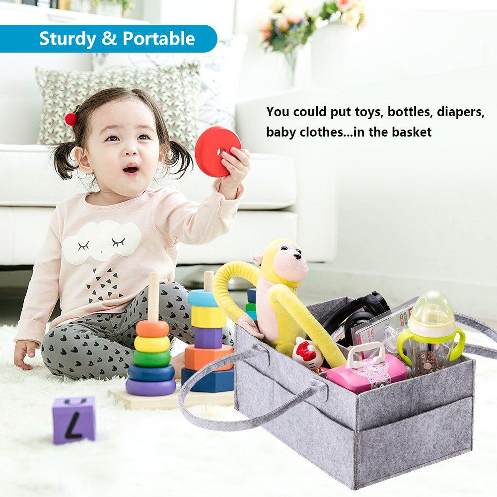 KUMFI Pañales caddy portable Nursery Organizador Diaper Storage Bin Baby Nappy Bin Felt Wipes Bag for Mom Newborn Kids Toys Car Travel Shower Gift, ...