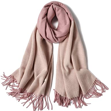 216ab23b5 DIFLY Womens Contrast Color Large Soft Cashmere Pashmina Shawls Wraps Scarf  Winter Warm Tassel Shawl Scarves