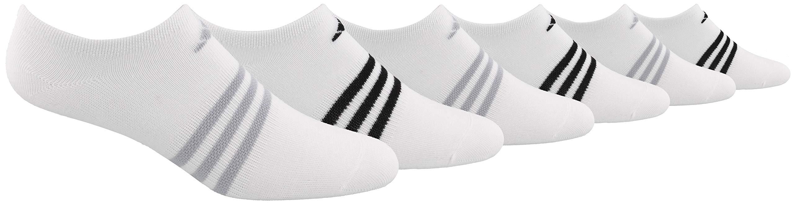 adidas Women's Superlite No Show Socks (6-Pair), White/Clear Onix/Black, Medium, (Shoe Size 5-10) by adidas