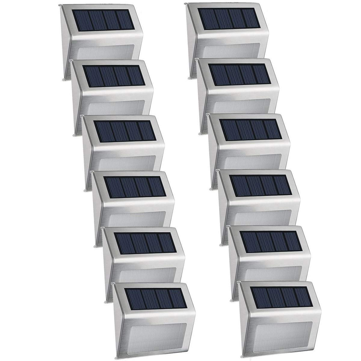 Easternstar Solar Powered 3 LED Step Light Stainless Steel Outdoor Waterproof Stair Lamp for Deck Patio Yard Path Fence Post (12 Pack)