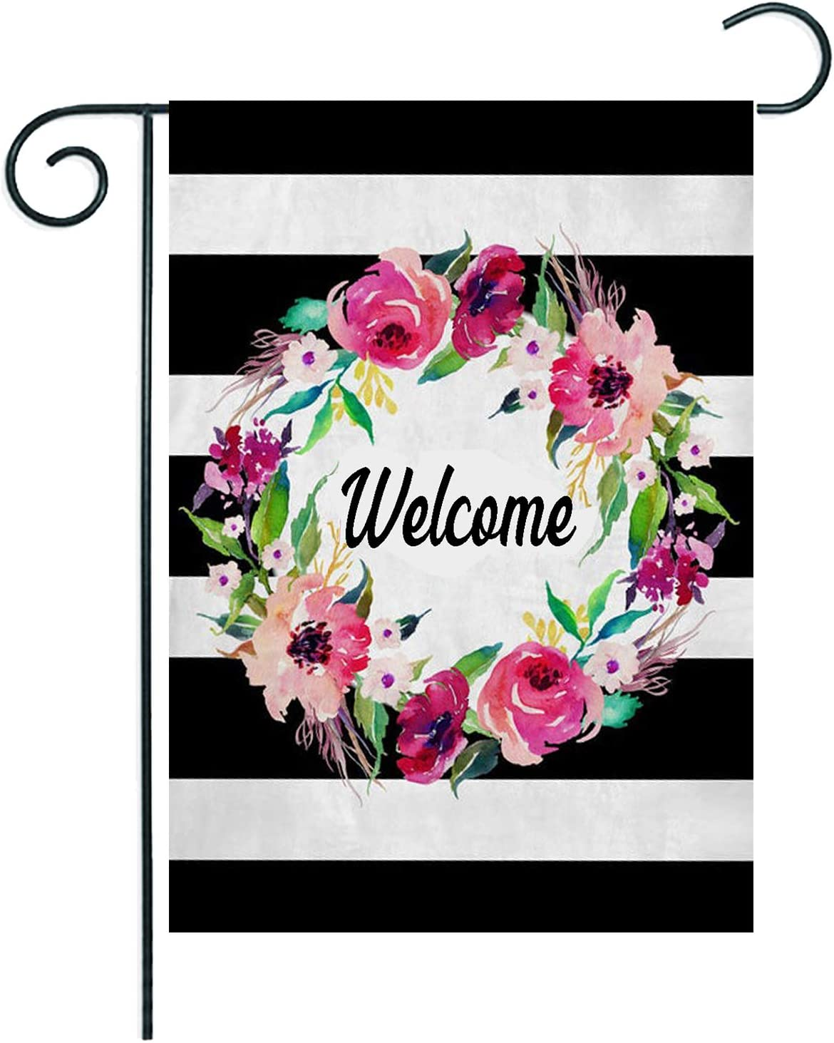 Welcome Wreath Spring Garden Flag 12.5x18 Inch Vertical Double Sided, ArtStudy Black White Stripes Floral Lawn Yard Flag, Small Outdoor Happy Spring Flag Decor, Thanksgiving Housewarming Wedding Gift