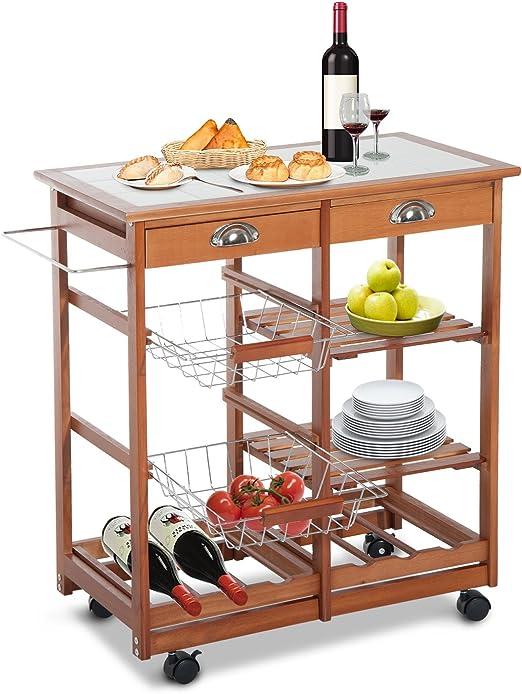 HOMCOM Küchenwagen Küchenrollwagen Servierwagen Küchentrolley Schublade Holz