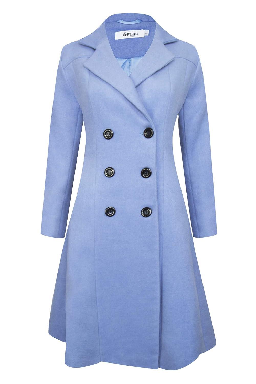 APTRO Women's Wool Coat Double-Breasted Winter Warm Jacket Slim Fit Outwear Coat