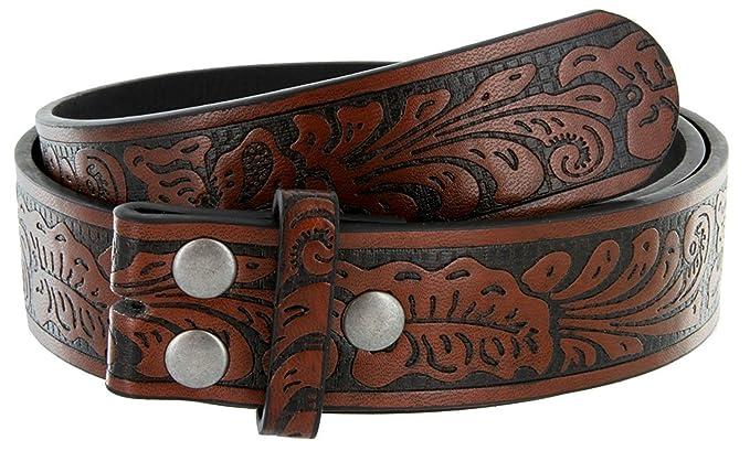 fee365c4d6c56 Western Floral Embossed Vintage Soft Genuine Leather Belt Strap 1-1/2 (Brown