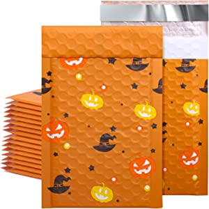 Metronic 50pcs Halloween Padded Mailers 4x8 Inch Custom Envelopes Mailers #000 Pumpkin Lamp Lined Bubble Mailers Self Seal Lovely Bubble Envelopes