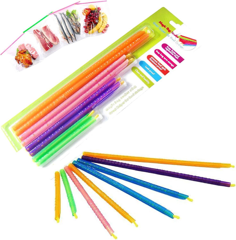 HPYYKE Magic Bag Sealer Closure Stick, Chip Clips Plastic Bag Sealer Stick, Durable, Stay Food Fresh Bag Sealer Sticks - Bag Sealer Clips Sticks/Storage Bag (4 Sizes) (16-PCS)