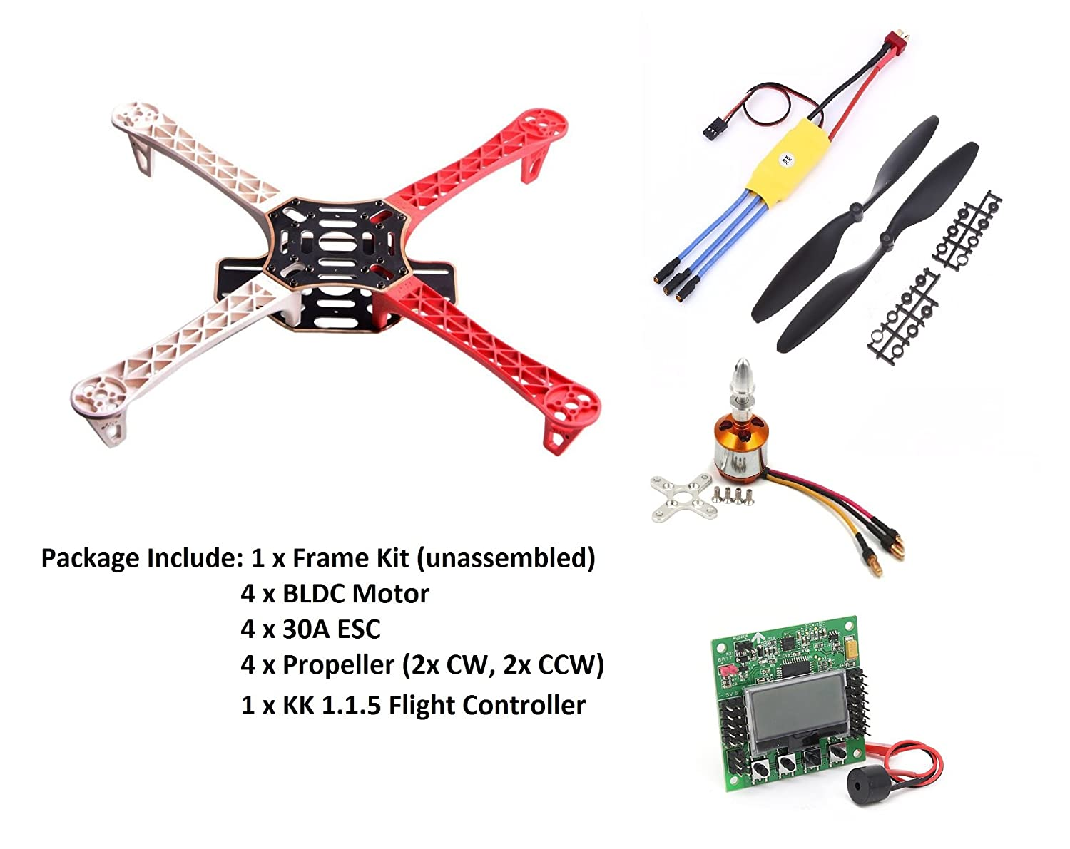 Invento F450 Quadcopter Diy Kit Kk215 Frame 1000kv Bldc Orangerx Kk2 Wiring Diagram 30a Esc 1045 Propellor Industrial Scientific