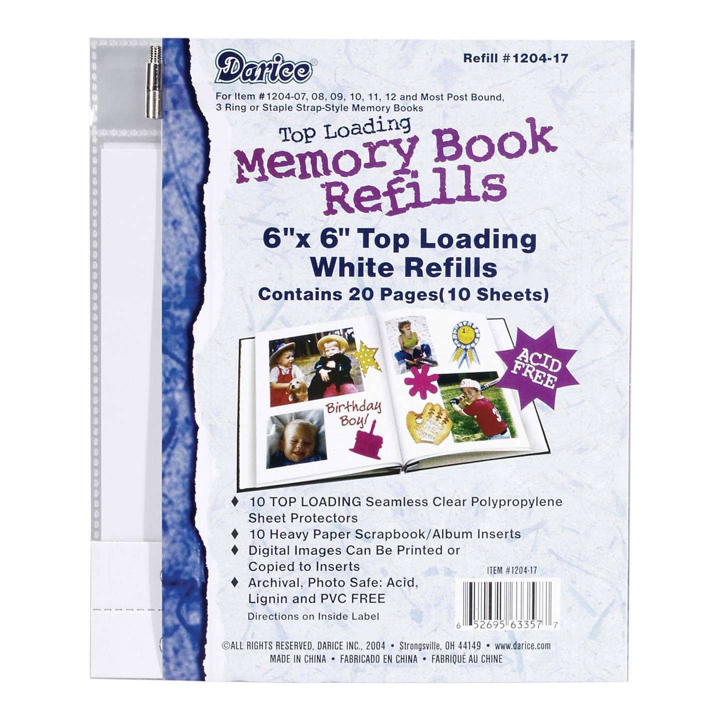 Bulk Buy: Darice DIY Crafts Memory Scrapbook Album Refill Pages 6 x 6 inches 10 pieces (10-Pack) 1204-17