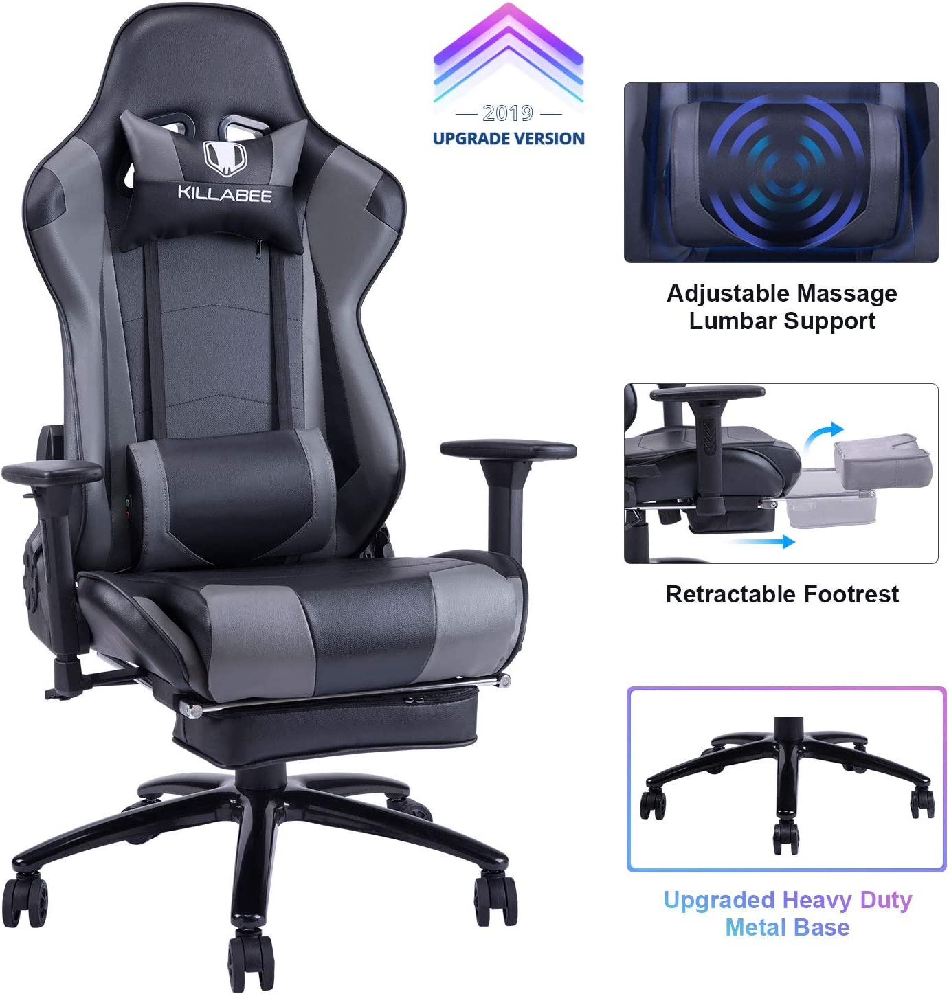 Desk Chairs Home Adjustable Back Angle And Retractable Footrest Ergonomic High Back Leather Racing Executive Computer Desk Office Chair Fantasylab Big Tall 400lb Memory Foam Reclining Gaming Chair Metal Base