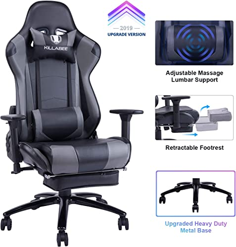 Killabee Big and Tall 350lb Massage Gaming Chair