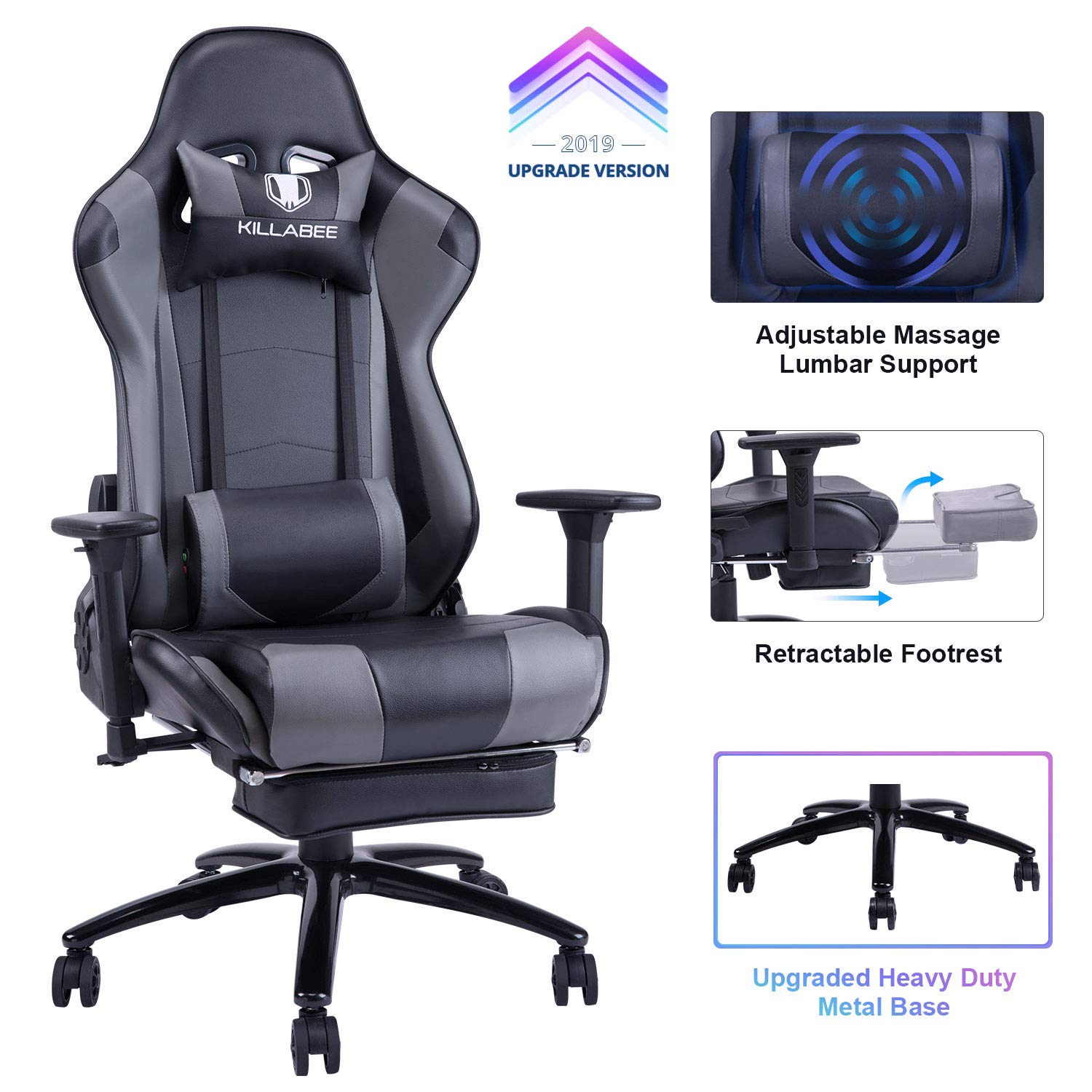 KILLABEE Big and Tall 350lb Massage Gaming Chair Metal Base - Adjustable Massage Lumbar Cushion, Retractable Footrest High Back Ergonomic Leather Racing Computer Desk Executive Office Chair by KILLABEE