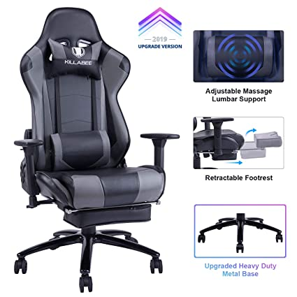 Surprising Killabee Big And Tall 350Lb Massage Gaming Chair Metal Base Adjustable Massage Lumbar Cushion Retractable Footrest High Back Ergonomic Leather Pdpeps Interior Chair Design Pdpepsorg