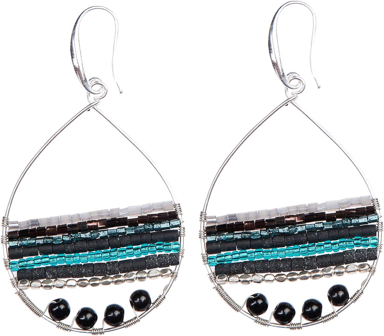 Color Lane Fashion Earrings Purple Glass Beaded Silver Tone Hook Dangle Lightweight For Women//Girls
