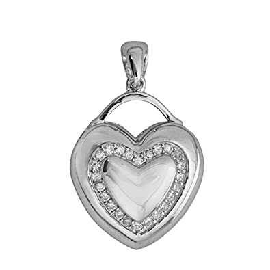 Amazon sterling silver heart lock pendant jewelry sterling silver heart lock pendant aloadofball Images