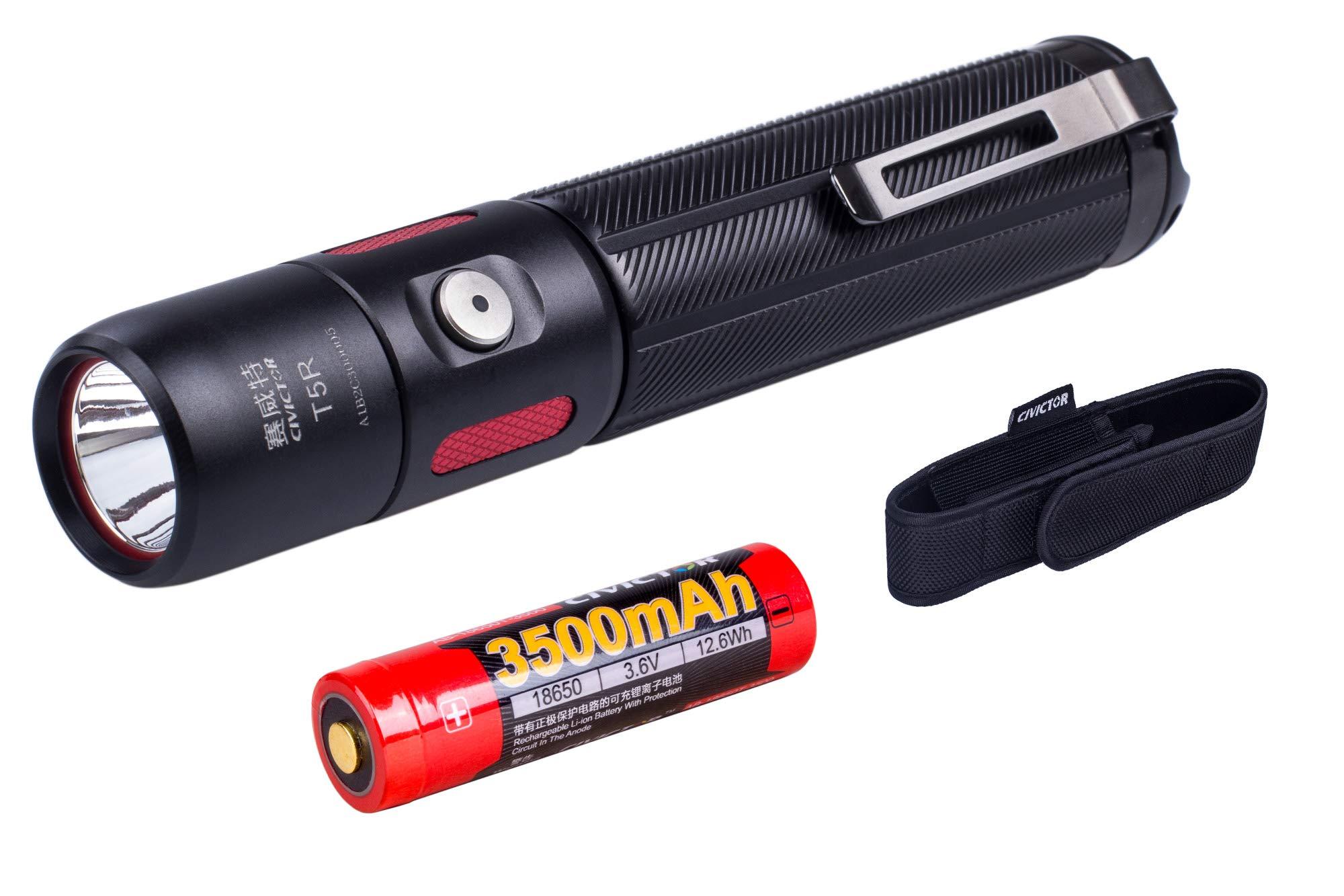 Small USB rechargeable Tactical Flashlight 1000 Lumens Led Flashlight Waterproof IPX8 Pocket Flashlight with 18650 Battery