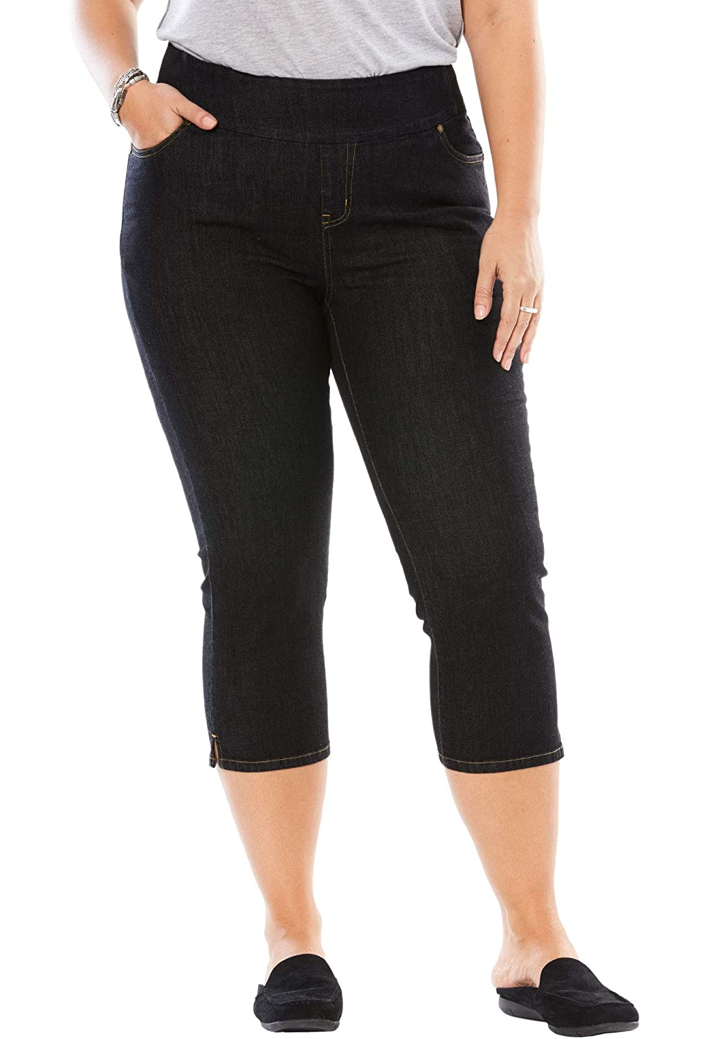 2647d4b4c3a Woman Within Women's Plus Size Petite Smooth Waist Capri Jean at Amazon  Women's Jeans store