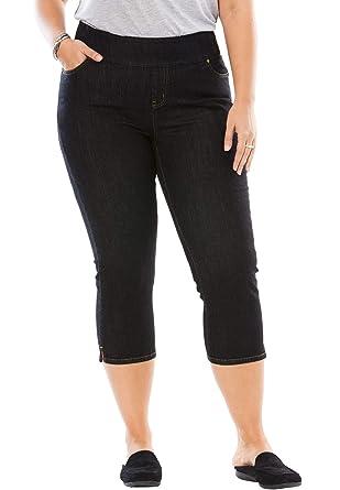 ad4f3606a9c Woman Within Women s Plus Size Petite Smooth Waist Capri Jean - Black Denim