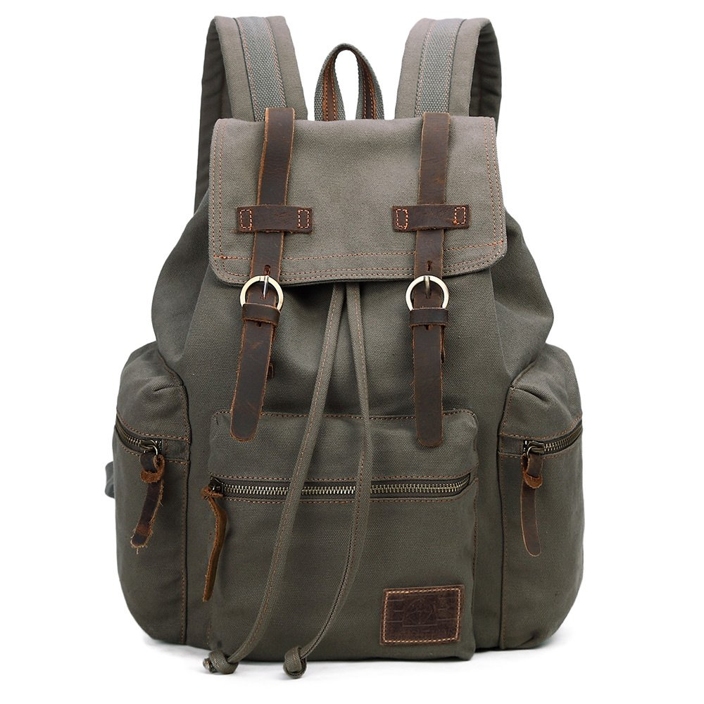 GINGOOD Vintage Canvas Backpack Outdoor Hiking Travel Rucksack 19L Army Green #220 by GINGOOD