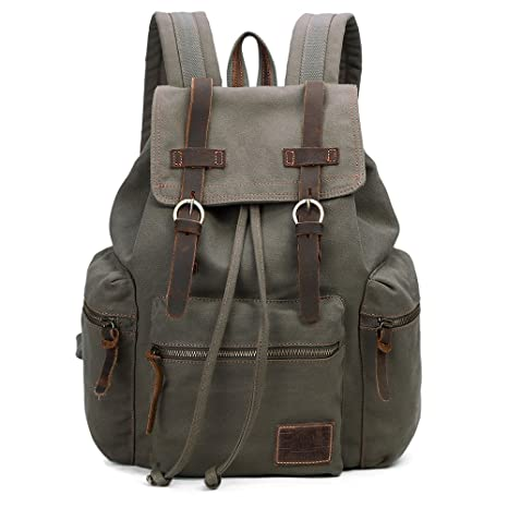 GINGOOD Vintage Canvas Backpack Outdoor Hiking Travel Rucksack 19L Army  Green  220