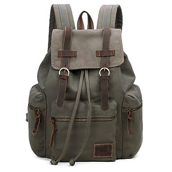 144515f2e80 GINGOOD Canvas Backpacks Vintage Rucksack Casual Leather Army Kipling  Knapsack 19L
