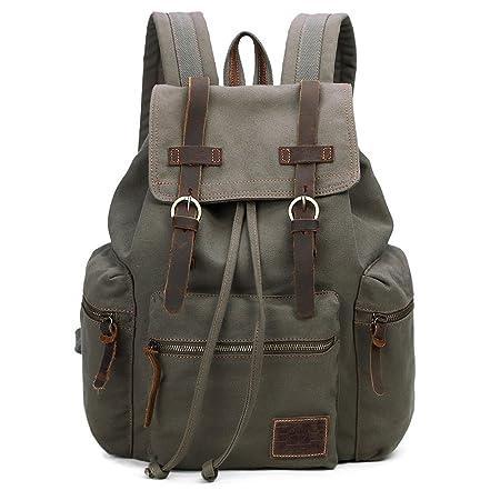 GINGOOD Canvas Backpacks Vintage Rucksack Casual Leather Army Kipling Knapsack 19L