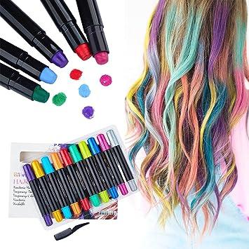 PuTwo Hair Chalk Pens 10 pcs Temporary Hair Dye Temporary Hair Color Non  Toxic Hair Color Chalk Sticks Hair Coloring Chalk Hair Chalk for Girls Hair  ...
