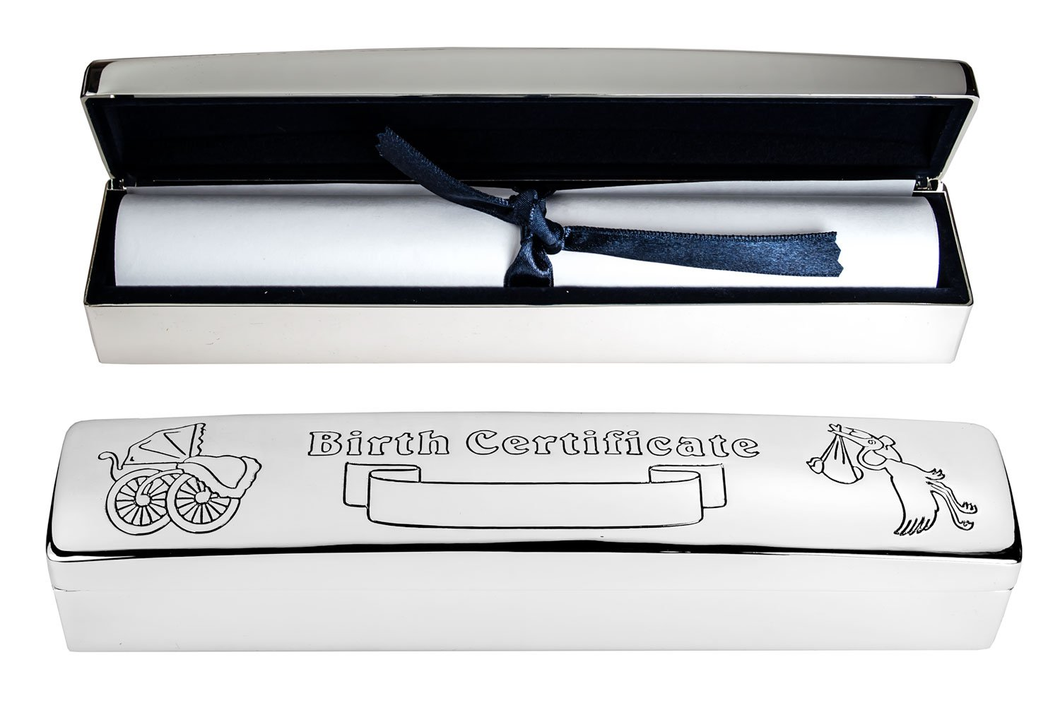 Personalised Silver Plated Birth Certificate Holder - Enter Your Custom Engraving. Engrave It Online