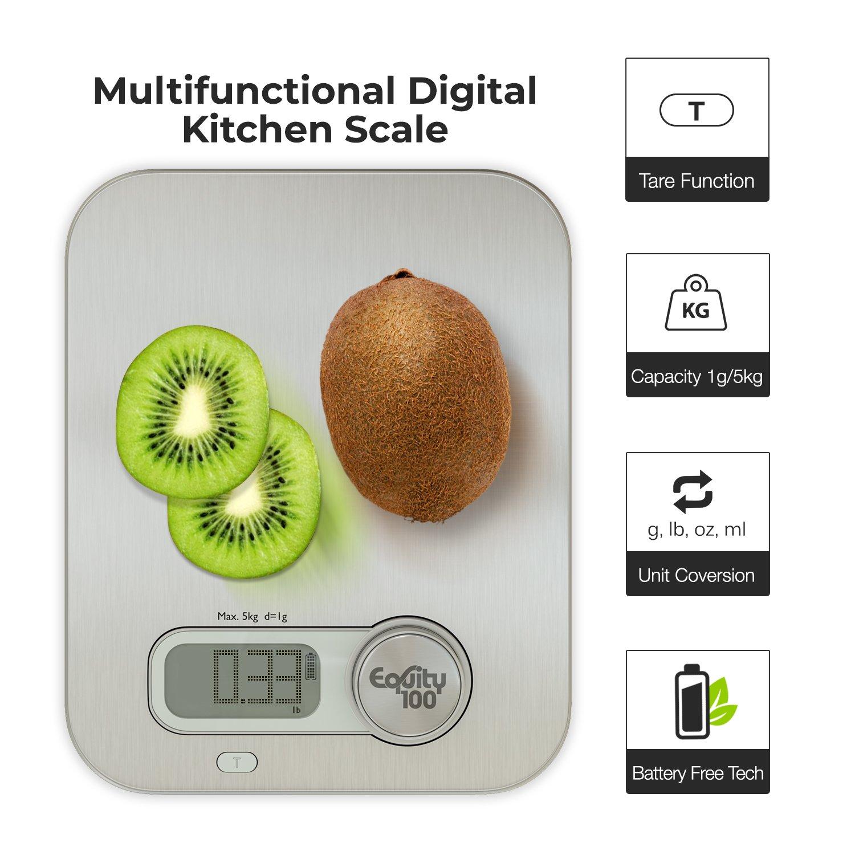 Ultra Thin profesional digital de cocina alimentos y nutrición escala - Escala de pesaje de alimentos multifunción con pantalla LCD por equity100: ...
