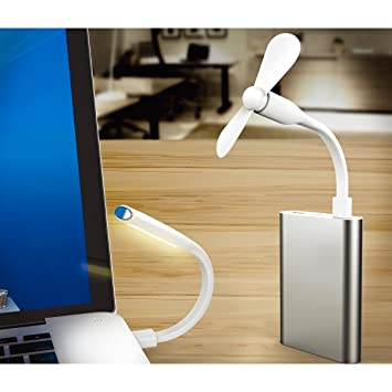 ROCK 3 en 1 flexible USB Mini ventilador + Flexible USB Mini LED luz + USB Cable Para Power Bank, PC, portátil, Pad etc.: Amazon.es: Electrónica