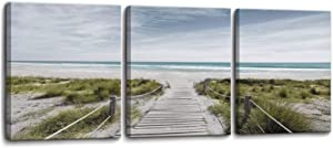 Coastal Beach View 3 Piece Bedroom Decor Wall Art Framed Canvas Artwork Wall Decorations for Living Room Bathroom Modern Room Coastal Wall Decor Beach View Print Picture Size 12x16x3 Ready to Hang