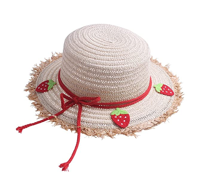 3eef7e69150 Toddler Kids Cute Fahion Floppy Straw Sun Hat with Braided Band Bowknot  Strawberry (Strawberry Paper