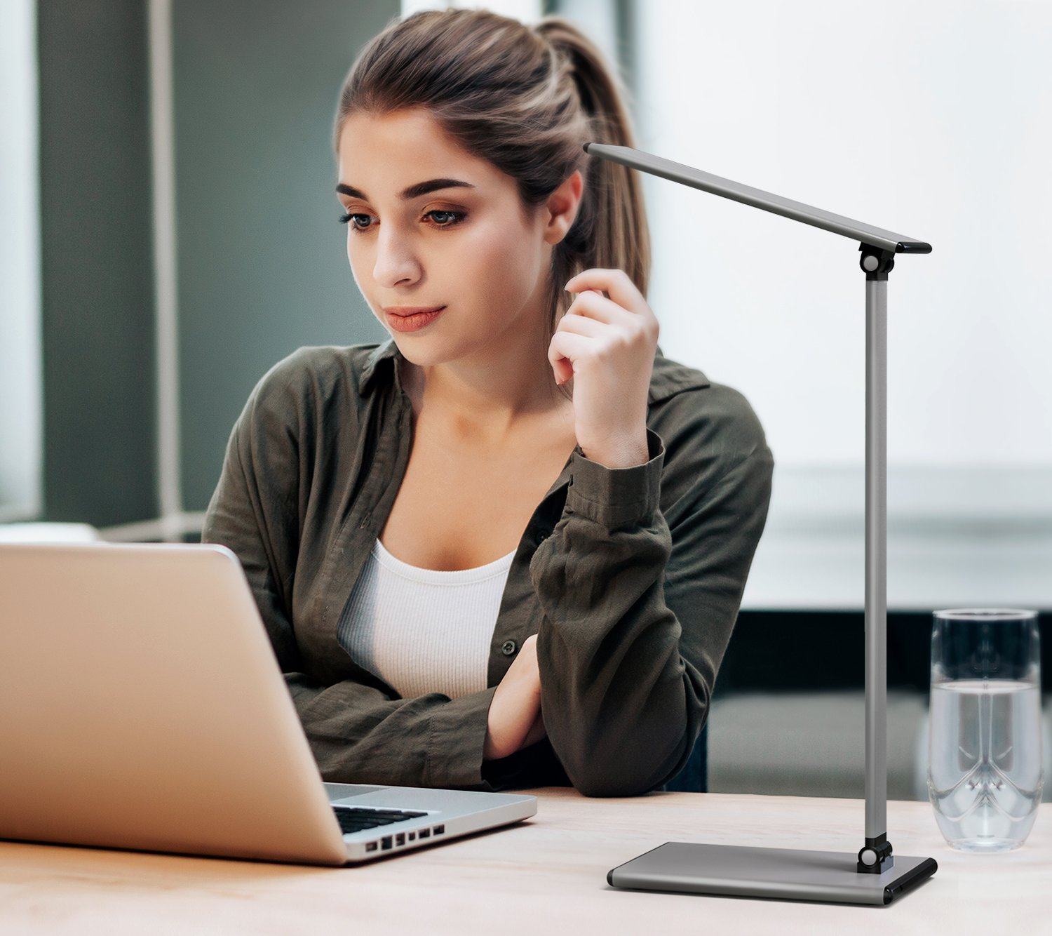MoKo LED Desk Lamp, 8W Eye-Care Smart Touch Control Table Lamps with Rugged Aluminum Alloy Body, Stepless Adjusted Color Temperature/Brightness Level, Rotatable Arm/Head, Memory Function - Dark Gray by MoKo (Image #8)