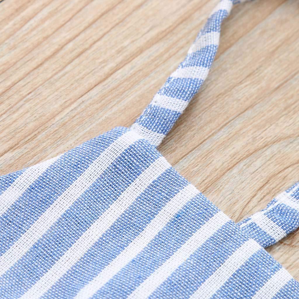 OcEaN Ruffle Tops T Shirt+Pants+Headband Outfits Toddler Kids Baby Girls Striped Sets