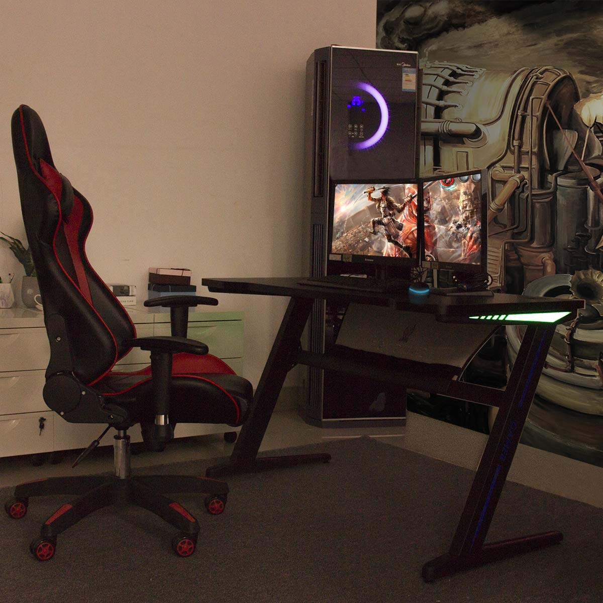 Gaming Desk Computer Table Z Shape, Bizzoelife E Sports Racing Table with LED Light Ergonomic Comfortable Height (47 Inches) by Bizzoelife (Image #8)