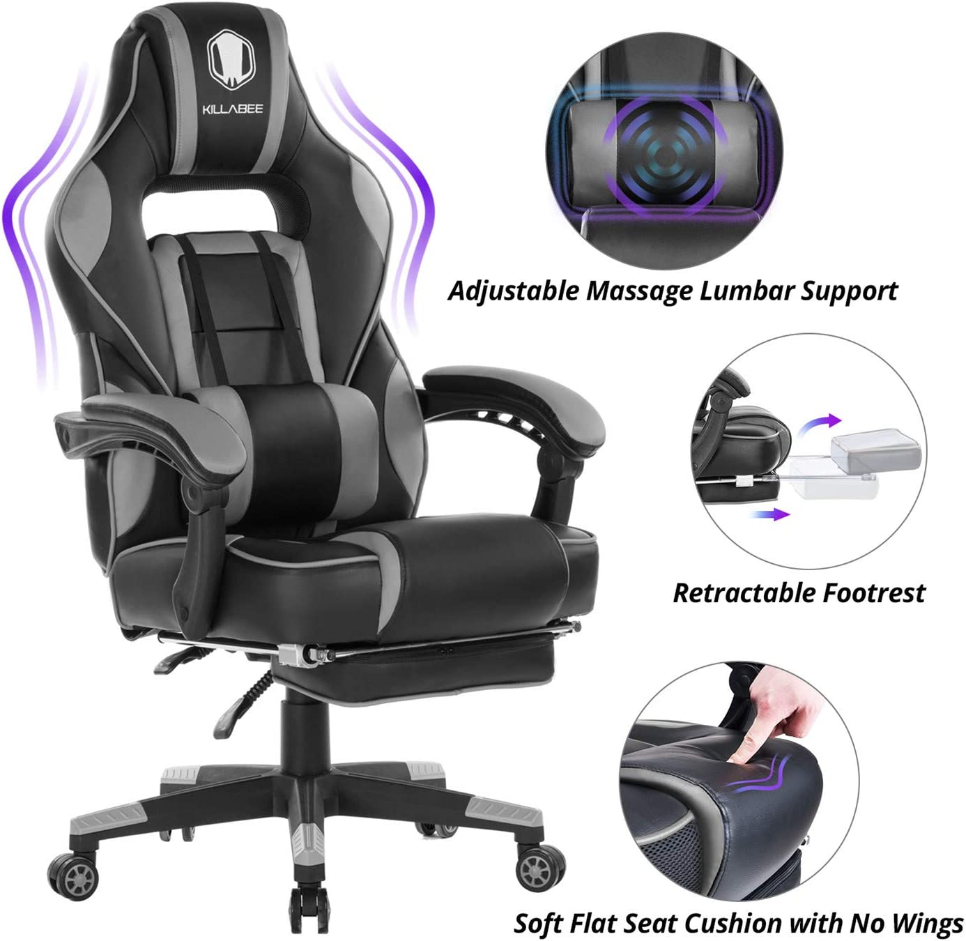KILLABEE Massage Gaming Chair High Back PU Leather PC Racing Computer Desk Office Swivel Recliner with Retractable Footrest and Adjustable Lumbar Support, Gray Black
