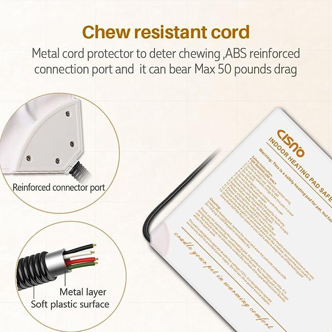Aokur - Calentador eléctrico para mascotas, ideal para camas de gatos, perros y cachorros, control de temperatura de 7 grados, con 2 fundas blandas y ...