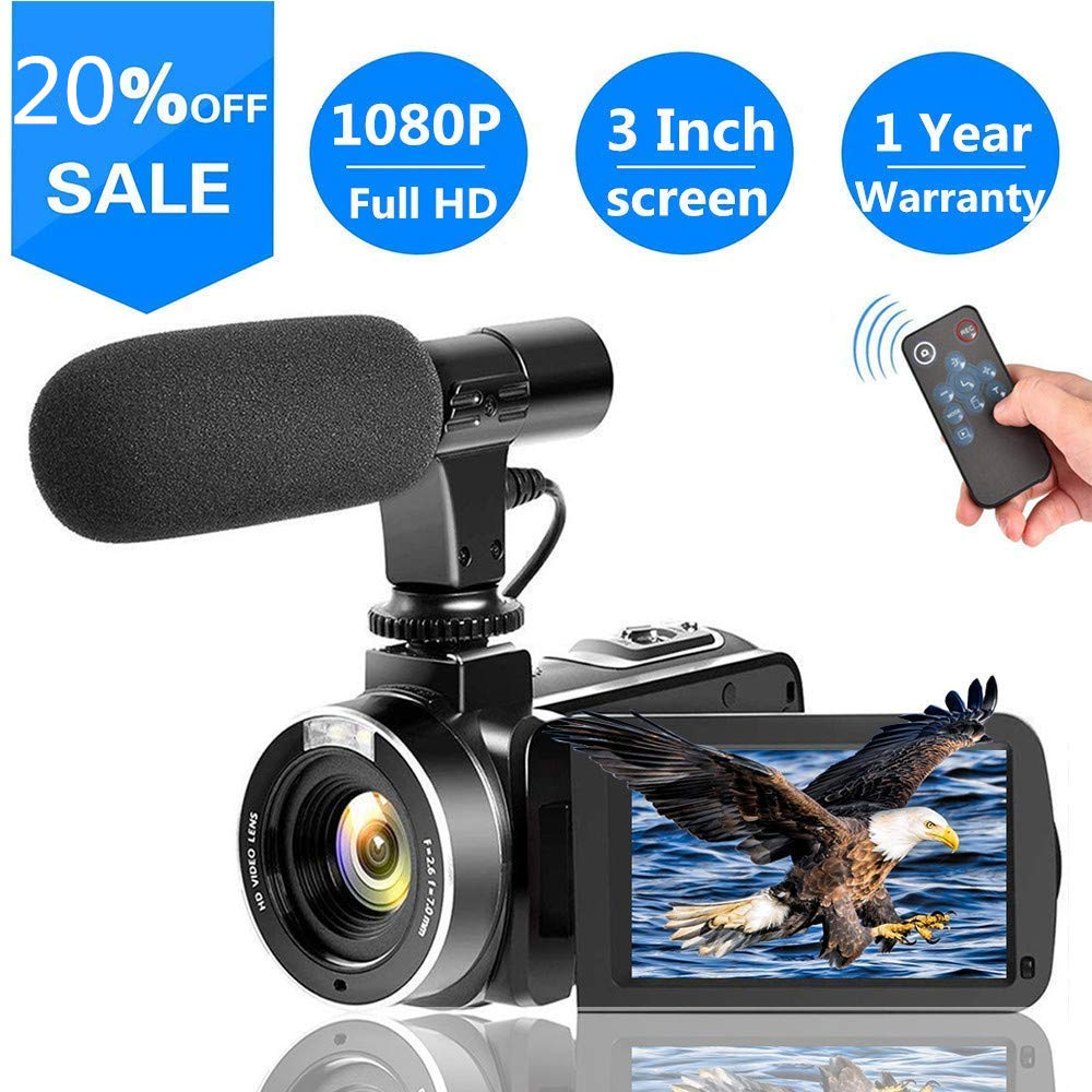 Video Camera Vlogging Camera with MicrophoneFull HD 1080p 30fps 24.0MP Video camcorder for Youtube Support Remote Controller SUNLEA