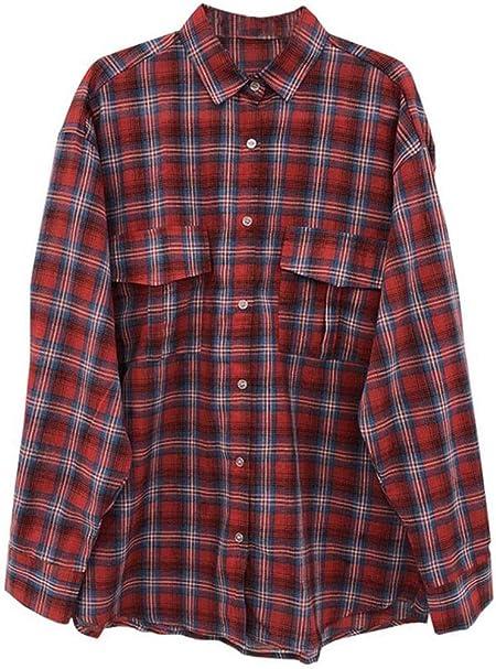 DAFREW Camisa de Verano Camisa de Manga Larga Moda de Mujer Suelta Top Retro Camisa Chaqueta Chaqueta a Cuadros (Color : Rojo, Tamaño : XL): Amazon.es: Hogar