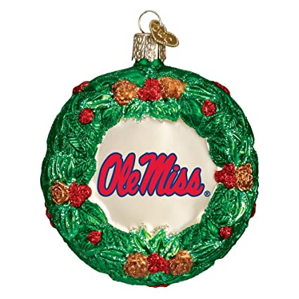 OLD WORLD CHRISTMAS MISSISSIPPI OLE MISS REBELS GLASS WREATH ORNAMENT 3.5'' - Amazon.com : OLD WORLD CHRISTMAS MISSISSIPPI OLE MISS REBELS GLASS