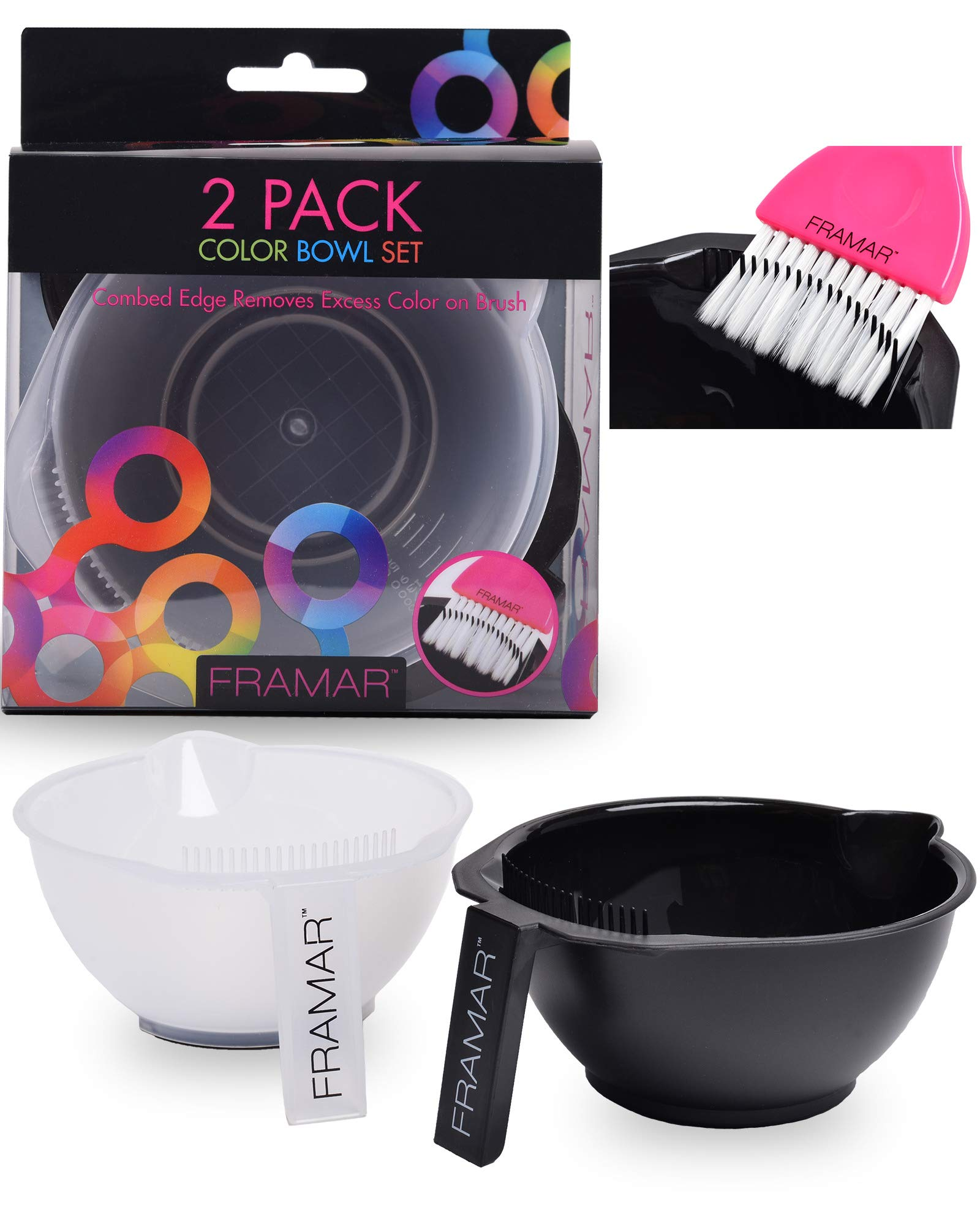 Framar Color Bowl with Cleaner Set – Mixing Bowls – For Hair Color, Hair Bleach, Hair Dye, Coloring – Coloring Set – 2 Pack Bowls