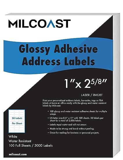 amazon com milcoast glossy address labels 30 per sheet 1 x 2 5 8