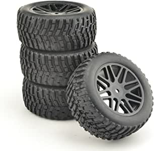 GOOACTION 2X Front and 2X Rear Rubber Buggy Short Course Ruck Tires Green Wheel Rim for 1/10 RC Off-Road Car