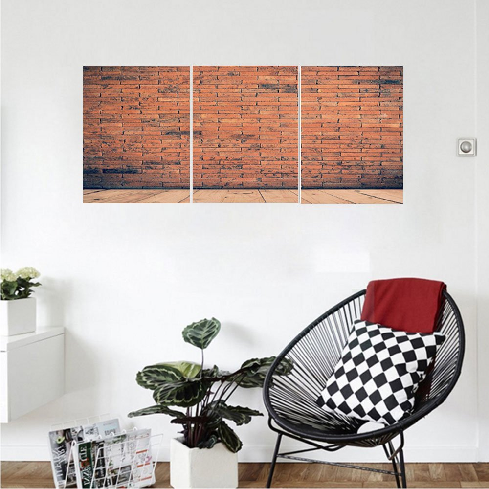 Liguo88 Custom canvas Vintage Decor Collection Old Fashioned Bricks in Dark Room with Antique Wood Floor Vintage Ancient Retro Room Decor Bedroom Living Room Wall Hanging Red