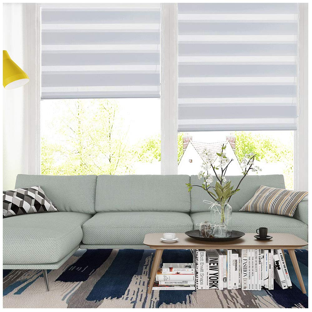 LUCKUP Horizontal Window Shade Blind Zebra Dual Roller Blinds Day and Night  Blinds Curtains,Easy to Install 27.6\