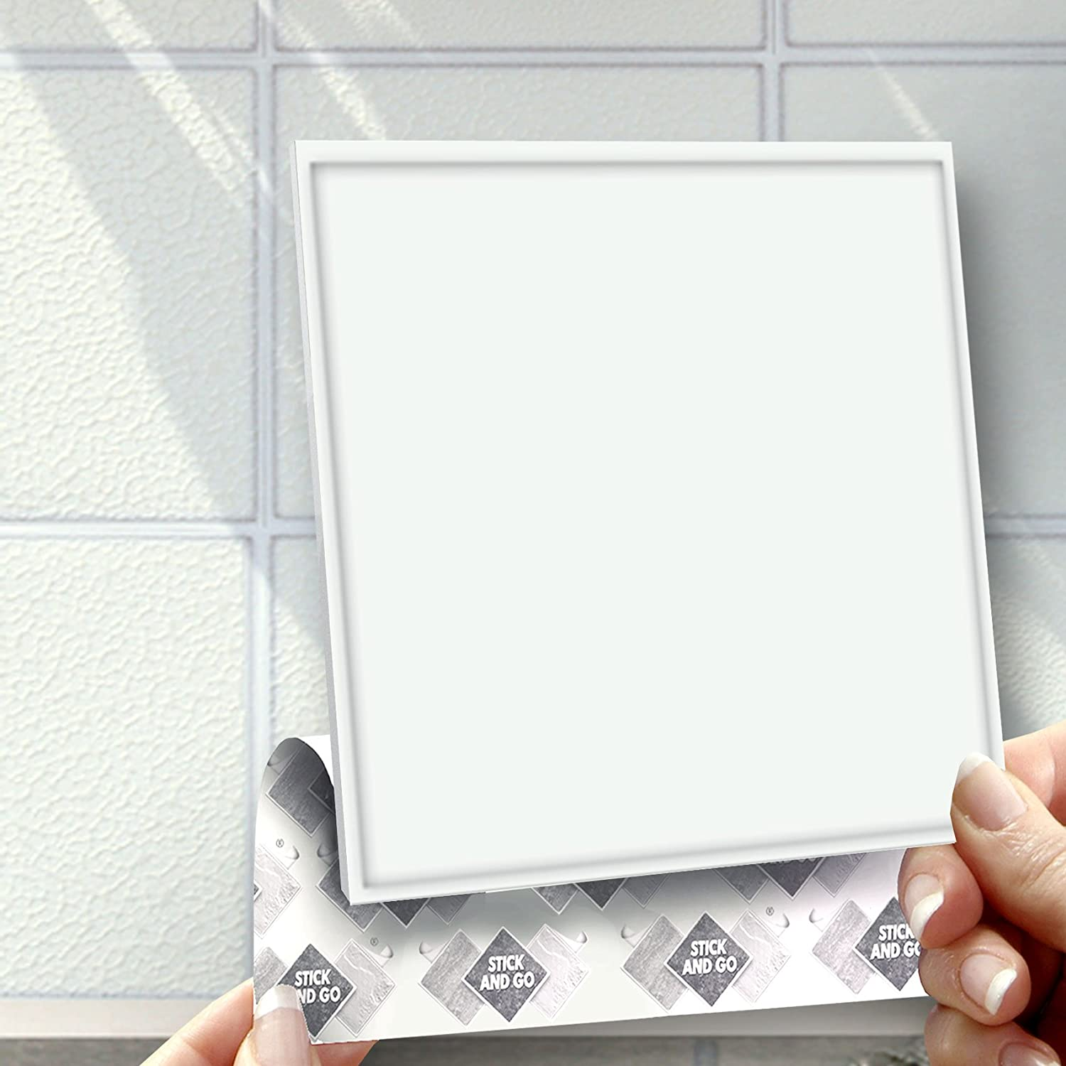 WHITE EFFECT WALL TILES: Box of 8 tiles Stick and Go Wall Tiles 6 ...