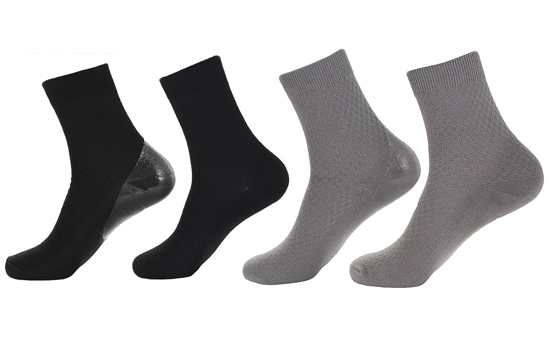 2 Paires de Chaussettes de Gel Hydratant Spa pour les Chaussettes de Récupération de la Peau Fissurées à Sec (Grille noire + grille grise) Makhry Mk-gs-0204
