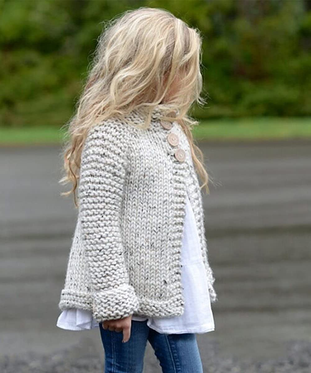 Toddler Baby Girl Fall Winter Cardigan Open Front Tie Waist Cardigans Coats Combed Cotton Knit Sweater Jacket Outwear