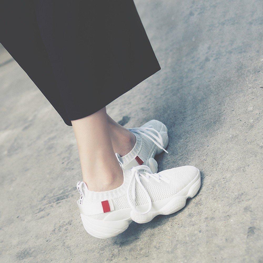 DIDIDD Mesh Atmungsaktive Boden Spitze Lässig Laufenden Dicken Boden Atmungsaktive Muffin Frauen Schuhe Weiß 35 ee5773