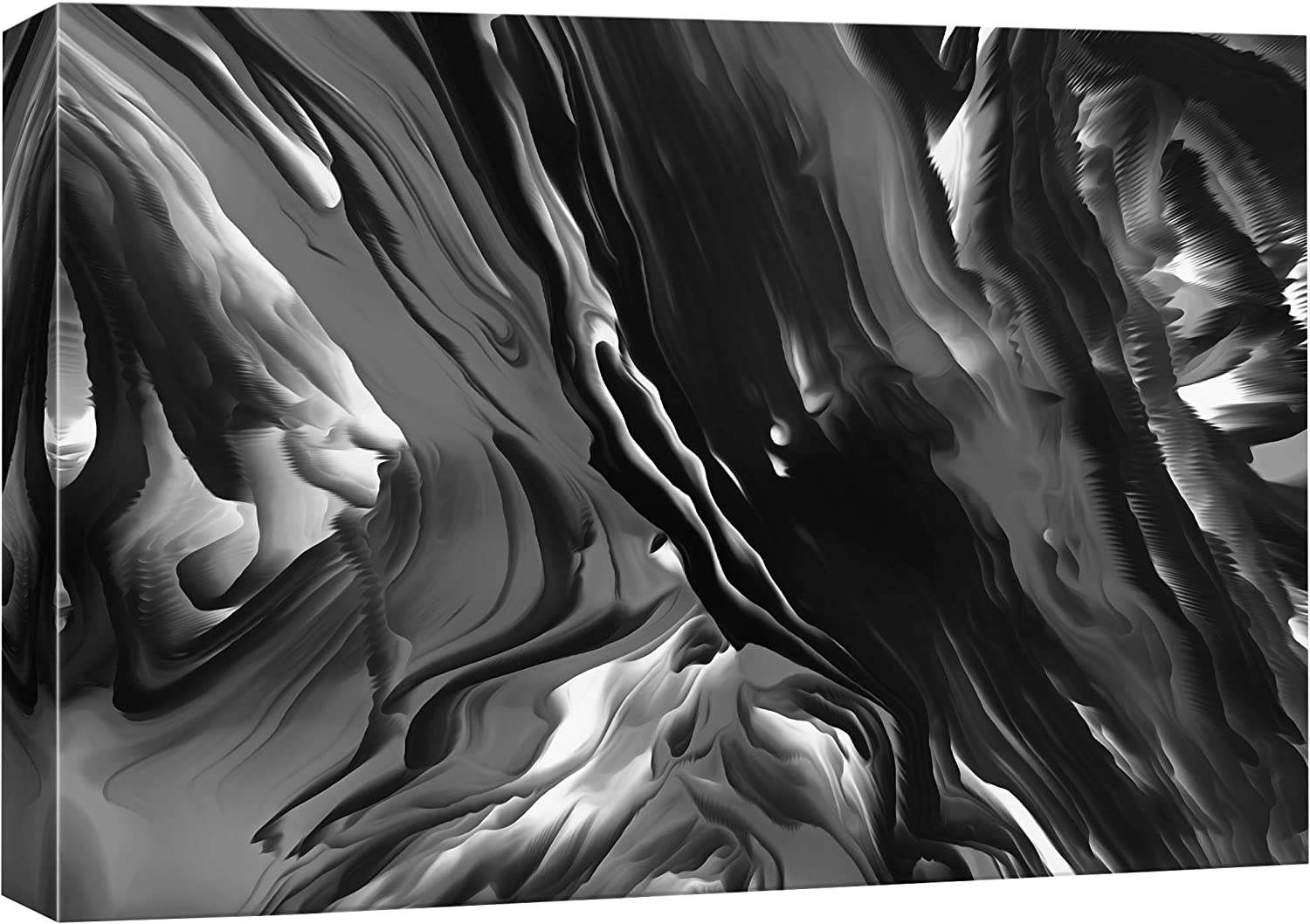 NWT Canvas Wall Art Abstract Black and White Painting Artwork for Home Prints Framed - 24x36 inches